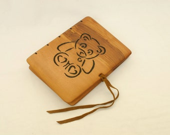 Unique baby photo album with carved match wood cover / natural finish  / made to order