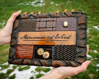 Luxury presentation steampunk photo album with carved horn beam wood cover / made to order