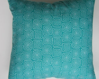 "Pillow cover  - Turquoise ""boxes"" print, fits a 20x20 - 100% Cotton"