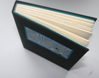 SALE!!! Hand Crafted Journal/Sketchbook featuring an abstract painting, Black, Turquoise, Japanese Book Cloth, Hand Torn Paper