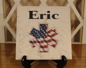 Personalized NAME Tile, EMS, Paramedic, EMT, Firefighter, Law, Skull, Any Theme