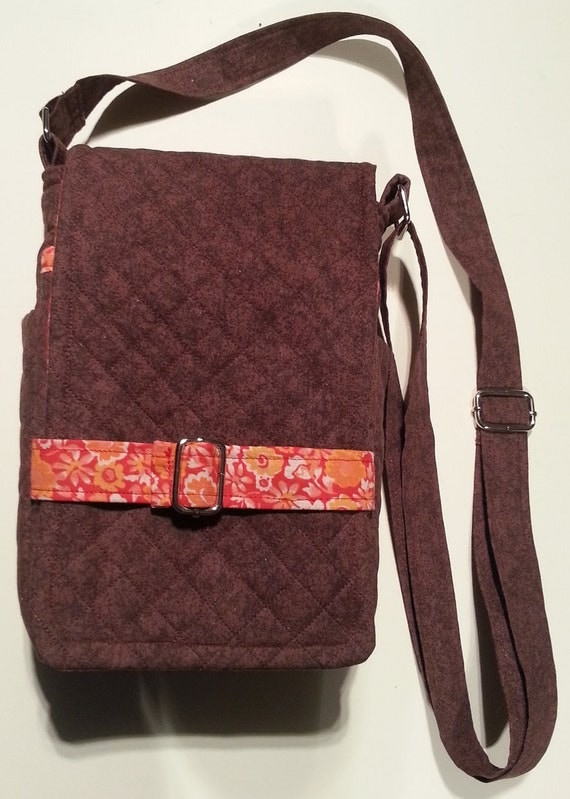 Handmade quilted chocolate brown purse with red-orange floral lining