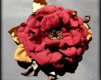 Handmade satin flower brooch rose brooch handmade pink rose flower clip & pin