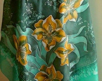 Natural silk hand painted scarf, emerald floral scarf