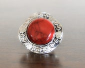 20% OFF SALE Vintage Red Marble Ring