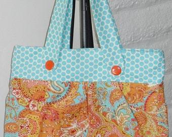 Blue Polka Dot and Orange Paisley Purse