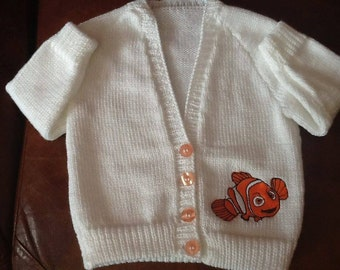 Hand knitted baby cardigan with Nemo embroidery