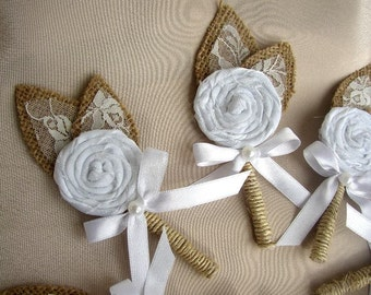 Set of 8 Burlap Boutonnieres - Rustic Wedding Corsage - Brooch Boutonniere - White Corsage Pin - Lapel Pin - Groomsmen