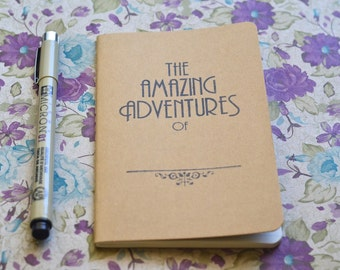 Pocket Sized Travel Journal | Hand Stamped Amazing Adventures Moleskine