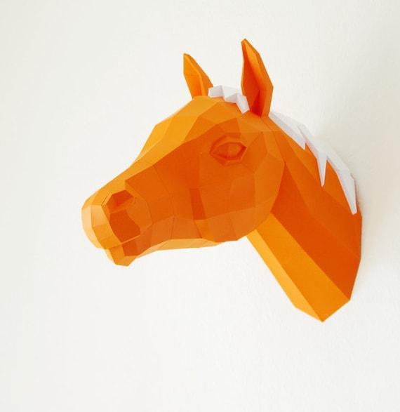 horse trophy papercraft horse template 3d puzzle diy horse