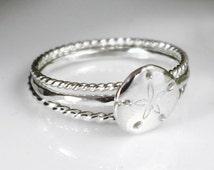 Sand Dollar Stacking RIng Set Beach Jewelry Nautical Jewelry Hammered Ring