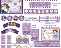 Sofia The First Birthday Party Pack! ! JPEG 300 dpi Printable DIY! Sophia the first princess birthday party tiara Purple Princess download