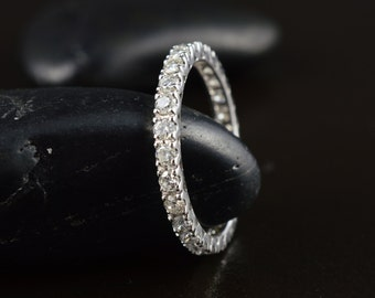Sadie - Diamond Wedding Band in White Gold, Round Brilliant Cut, Prong Set with V-Shaped Baskets, Stackable, Free Shipping