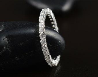 Petite Danielle - Diamond Eternity Band, Round Brilliant Cut Diamonds, Shared Prong Basket Set, Classic Design, Wedding Ring, Free Shipping