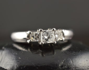 Erica - Diamond Engagement Ring in White Gold, Prong Set Princess Cut Classic 3-Stone Design, Closed Baskets, Free Shipping