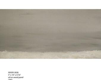 "beach painting  oil on wood panel 5"" x 10"""