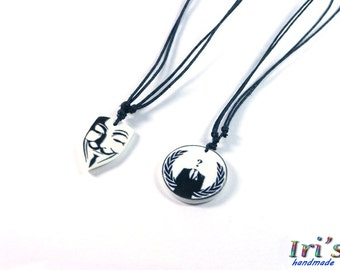 Anonymous Pendant, Guy Fawkes Necklace, V for Vendetta Mask Necklace