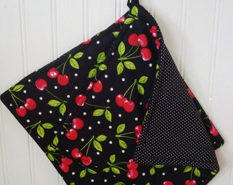 Red Cherry Pot Holders, Set of 2 Cherry Potholders, Cherry Kitchen Potholders, Cherry Kitchen Decor, Cherries Decor, Fabric Pot Holders