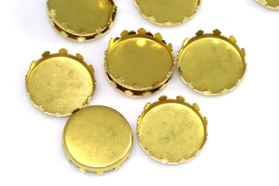 30 PCS Raw Brass 14 mm round Shape Setting Pendant finding  for Gemstone Findings