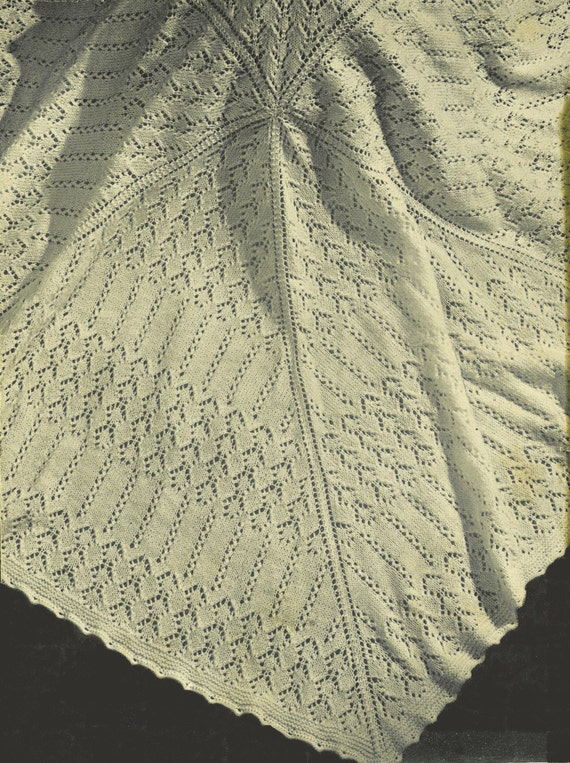 Free Knitting Pattern Baby Christening Shawl : Items similar to Barbara Baby Shawl vintage baby christening knitting pattern...