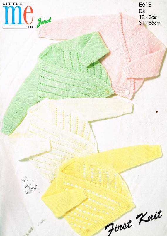 Jarol Knitting Patterns : Jarol 618 baby wrapovr cardigan vintage knitting pattern PDF