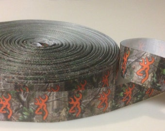 Orange Browning Mossy Oak Real Tree Camo Hair Bow Ribbon 7/8 inch-Grosgrain-Ribbon by the yard