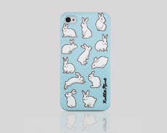 iPhone4 / 4S Case - Rabbit & Blue (P00029)