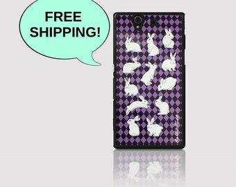 Sony Xperia Z Case -  Rabbit & Checker Purple (D2115-Z(B))