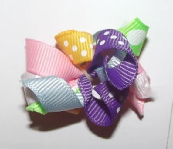 Puppy dog bows ~ Set of 4 curly q  dog bows ANY color, you choose boys or girls, ear bows poodles US seller