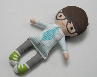 Organic Eco friendly soft handmade Boy Doll MAX bowtie