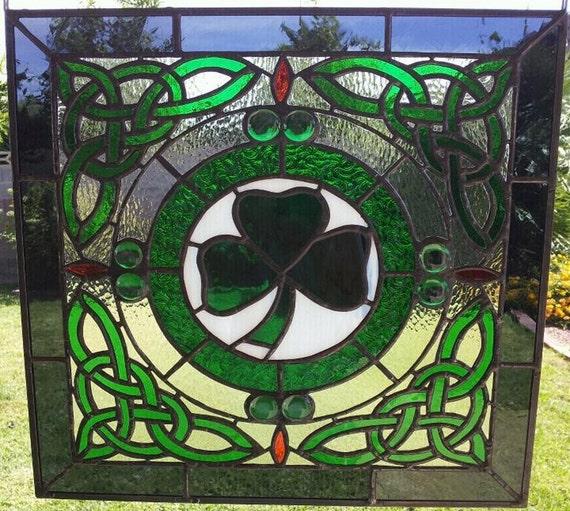Celtic Stained Glass Panel. by GlassByRobbyNau on Etsy