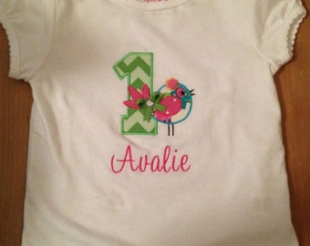 Little Birdie Birthday Shirt or Baby Bodysuit