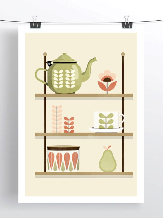 A4 cathrine holm kitchen print Retro Kitchen Shelf Cathrine Holm Kiely Illustration Mid Century Style Art Print Vintage Tea Time Poster