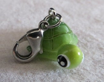 Green Turtle Zipper Pull Animal Acrylic Charm Accessory Gift
