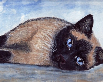 Stanley the Siamese Cat As ACEO, Print  or Greeting Card From Original Watercolor