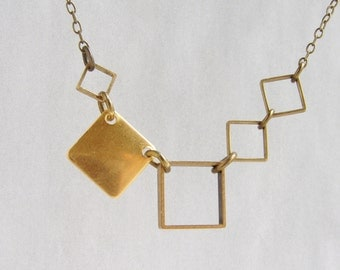 Square statement necklace, Geometric necklace, multiple square statement necklace gift for her