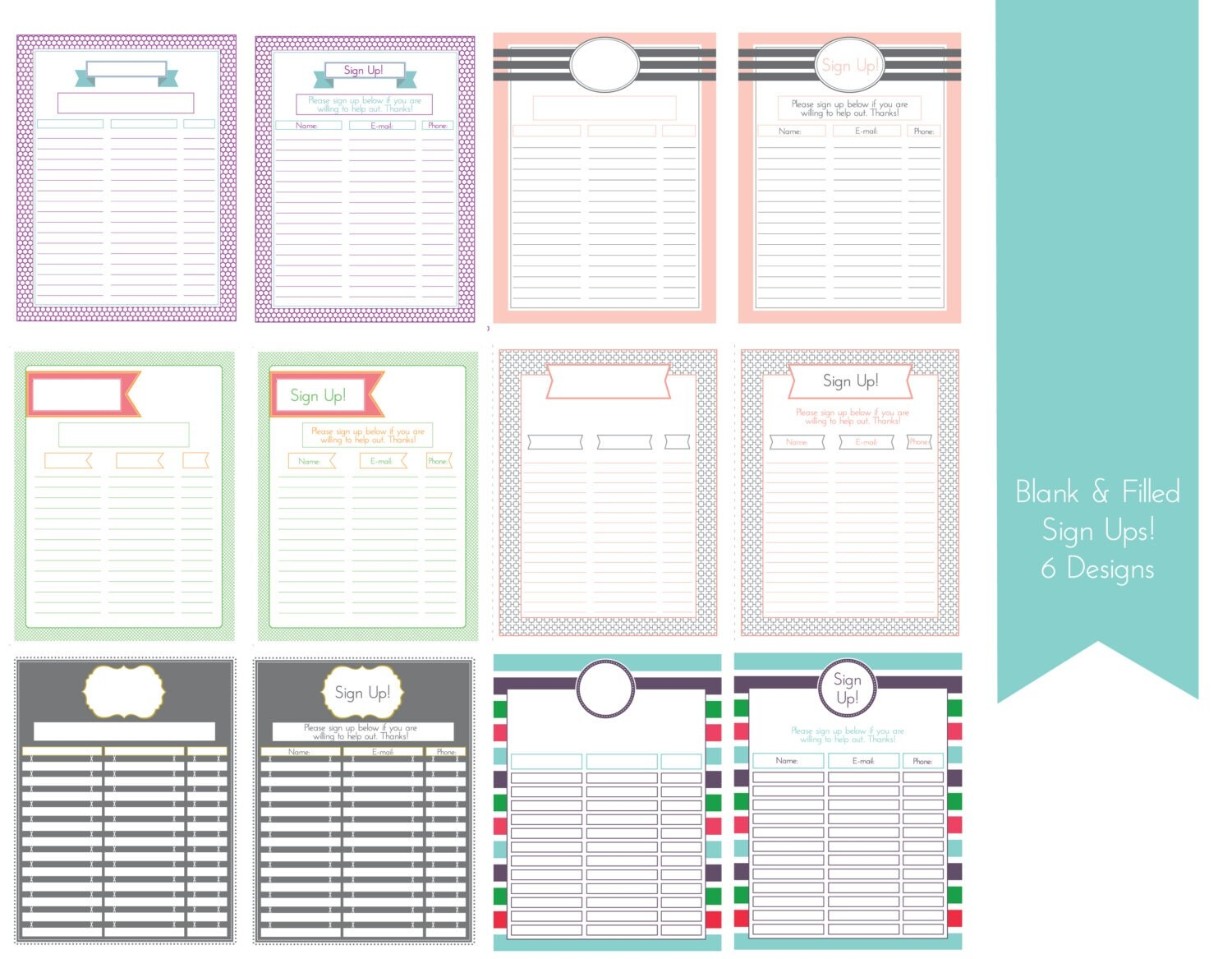 editable sign up sheet