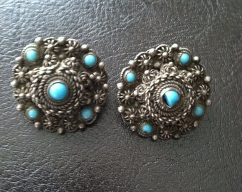 Antique silver and turquoise clip on earrings