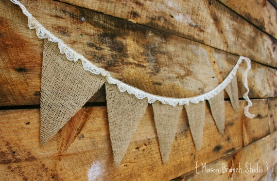 BURLAP and LACE Burlap Banner, Bunting, Garland, Pennant, Photo Prop, Wedding Decor, Baby Decor, Home Decor