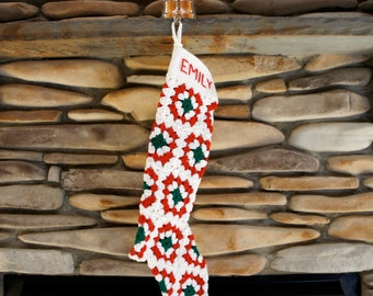 READY FOR PERSONALIZATION! Handmade - Granny Square - Crochet - Vintage-Style  Christmas Stocking