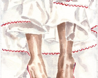 Petticoat with red shoes: watercolor