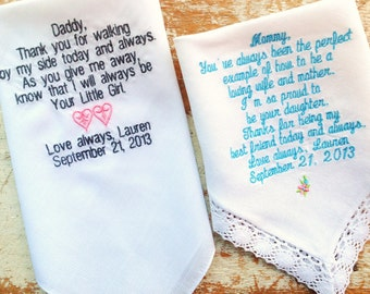 2 parent wedding handkerchief or any one linen and one no lace batiste