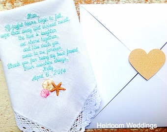 Embroidered Wedding Handkerchief Monogrammed Poem Mother FREE Matching Gift Envelope From BRIDE Beach Heirloom Personalized