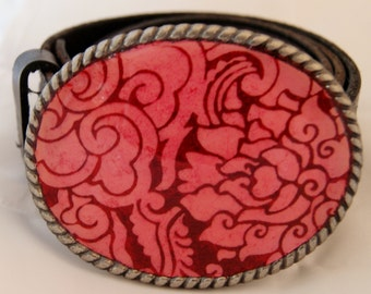 Pink and Red Nepalese print Handmade Belt Buckle!
