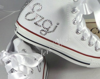 Womens Personalised converse / your name on converse / bling high tops  / sparkle converse / bride converse / wedding converse