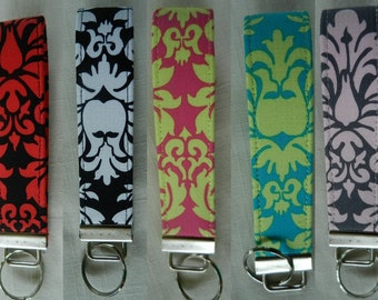 Various Colors of Damask Fabric key fob, key chain, wristlet, camera strap, flash drive holder