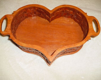 Heart shaped woven wood bowl