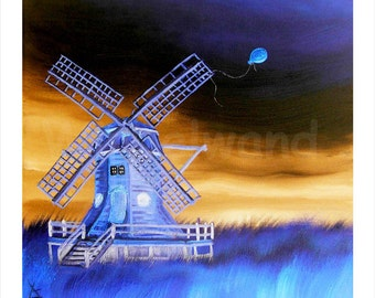 Print of an oil painting - The Orange Balloon III (13,5 x 13,5 inch) Colour Variation inversion