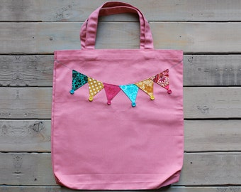 Canvas Tote in Pink with bunting & buttons