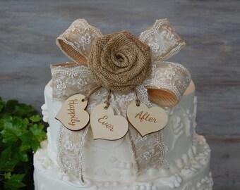 Rustic Cake Topper / Burlap Cake Topper / Shabby Chic Cake Topper / Custom Cake Topper/ Rustic Chic Cake Topper